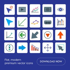 Modern Simple Set of arrows, charts, video, cursors Vector flat Icons. Contains such Icons as  mouse,  cursor,  diagonal,  sign,  web, movie and more on blue background. Fully Editable. Pixel Perfect