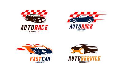 Set of Racing car Logo vector, Fast car Flame logo, Automotive Service Logo designs vector illustration