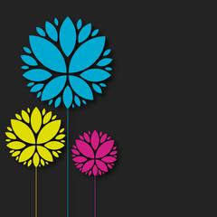 carte fleur coloré
