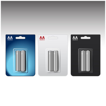 Set of Vector Glossy Alkaline AA Batteries in Blue White Black Blister. Packed for your branding. Close up Isolated on White Background