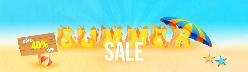 Refreshing Summer Sale, Banner, Poster or Flyer Design with 50% Off Discounts and Slices of Seasonal Fruits and Ice Cream.