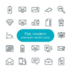 Modern Simple Set of business, charts, mobile, email Vector outline Icons. Contains such Icons as  finance, contract,  chat, power,  picture and more on white background. Fully Editable. Pixel Perfect