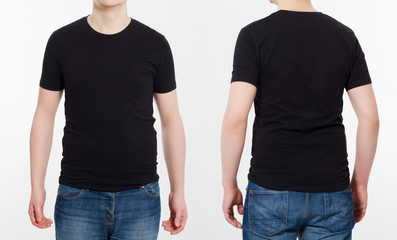 T-shirt template. Shirts set. Front and back view. Mock up isolated on white background. Blank summer shirt.