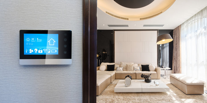 smart phone with apps in modern living room