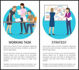 Working Task Strategy Set Vector Illustration