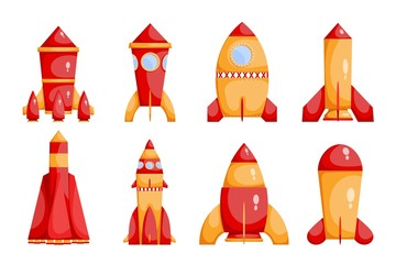 Set of bright red and yellow rockets in a cartoon style on a white background.  Collection of children's toys. Vector illustration