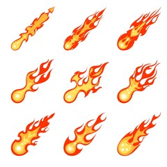 Collection of bright cardboard style images of meteorites on a white background. Space element in the Earth's atmosphere. Meteors with flame. Vintage style. Vector illustration