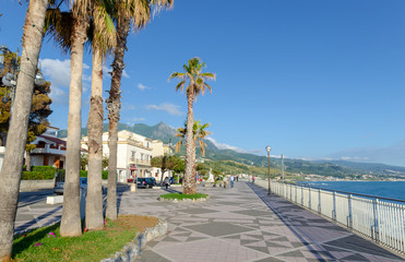Embankment of the city of Diamante, the Mediterranean Sea, Calabria, Italy. Wonderful places for summer holidays. Wall mural