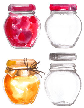 Glass jars with jam painted with watercolors on white background