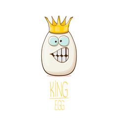 white egg king with crown cartoon characters isolated on white background. My name is egg vector concept illustration. funky farm food or easter king character with eyes and mouth