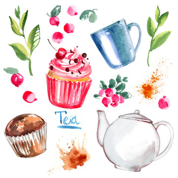 Tea painted with watercolors on white background