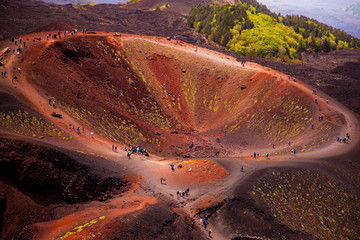 Etna national park panoramic view of volcanic landscape with crater, Catania, Sicily