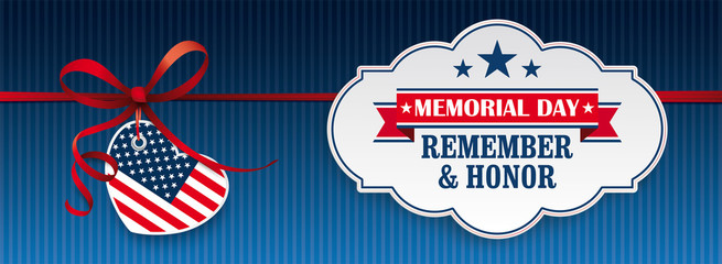 Red Ribbon USA Heart Classic Label Memorial Day