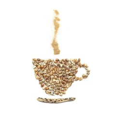 Coffee cup image created of sea shells, driftwood and sand isolated on white background. Coffee cup shape or icon and smoke made of various natural things.