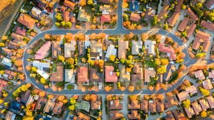 Aerial view of a typical Australian suburb