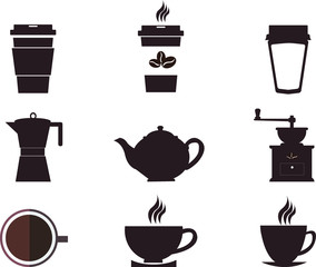 Coffee cups and pots. Coffee pot and cup silhouettes, design elements