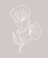 Hand drawn modern flowers drawing and sketch floral with line-art, vector illustration wedding design for t-shirts, bags, for posters, greeting cards
