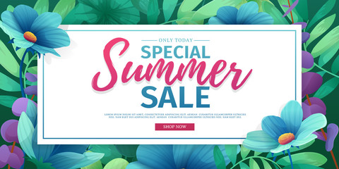 Template design banner for summer offer. Special sale advertising with floral frame. Summer advertising logo on flower background. Vector