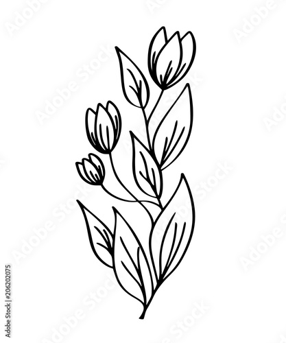 Modern Flower Black And White Clip Art