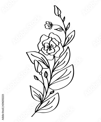 Hand drawn modern flowers drawing and sketch floral with line art hand drawn modern flowers drawing and sketch floral with line art vector illustration wedding m4hsunfo