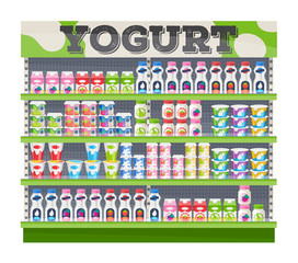 Supermarket shelf display with yogurt.