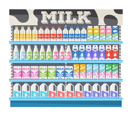 Supermarket shelf display with milk.