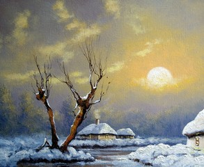 Oil paintings rural landscape, winter, old village, fine art.