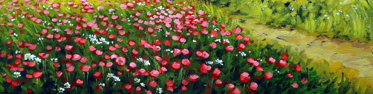 Oil paintings rural landscape, field, poppies