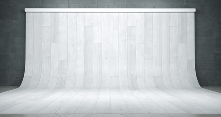 Room With Photography Studio White Wood Backdrop. 3D Rendering
