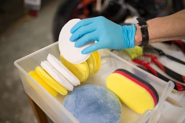 Detail of sponges for polishing vehicles