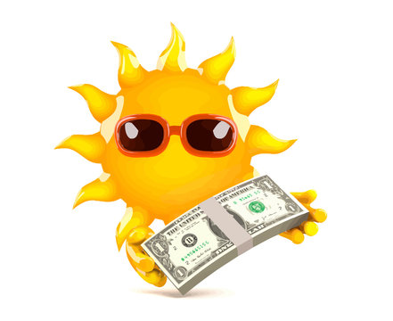 Vector 3d Cartoon sun character holding a wad of US Dollar notes