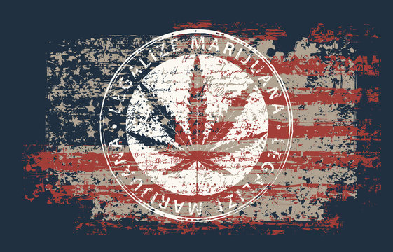 Vector banner for legalize marijuana with hemp leaf on abstract background of american flag in grunge style. Natural product made from organic hemp. Smoking weed. Medical cannabis logo