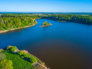Aerial landscape of small island at the lake