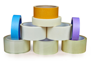 Set of masking tape is stacked in form of pyramid.