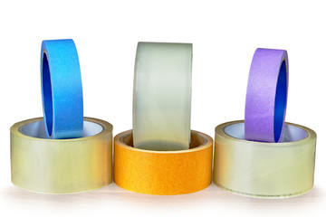 Various types of adhesive tape posted on an white background.