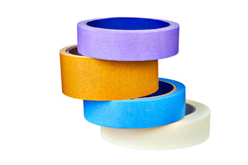 Four multi-colored rolls of  scotch tape folded stack on white.