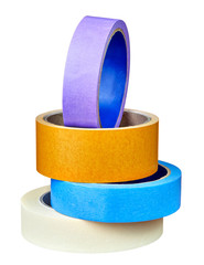 Set of multicolored self-adhesive tape on white background.