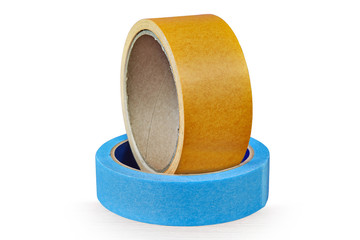 Two rolls of duct tape lying on table,  white background.