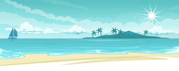 Ocean lanscape illustration