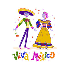 Vector mexican skeleton characters - man and lady - in traditional colorful costumes isolated on white background. Flat hand drawn style. Viva Mexico lettering. Dia de los muertos illustration design.