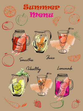 Hand drawn vector template for summer drinks menu with smoothies, juice, lemonade.
