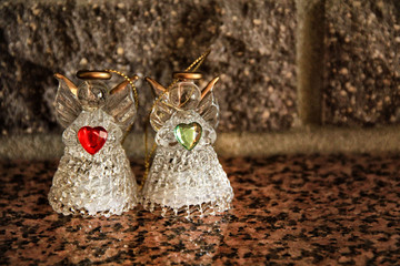 angels from glass the symbol of the day of Saint Valentine