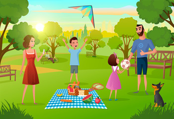 Happy Family Enjoying Picnic on Meadow in Park Cartoon Vector Illustration. Parents Having Fun, Lunching, Playing with Kids on Weekend Leisure. Dinner on Nature, Summer Vacations, Outdoor Activities