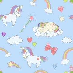 Vector seamless pattern with cute unicorns, rainbow clouds, magicsticks and heart stars. Magic dream background with little unicorns kids.
