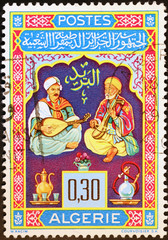 Two algerian musicians on postage stamp