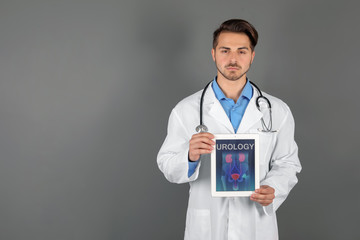 Male doctor holding tablet with urinary system on screen against grey background