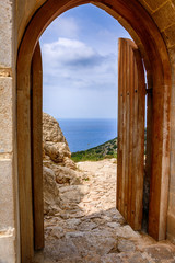 Architecture and nature in Kritinia castle on Rhodes island, Greece