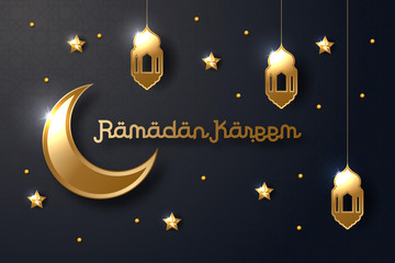 Ramadan Kareem greeting card design islamic with Gold moon, star and lantern. vector illustration