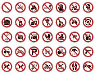 35 Verbots- & Warnschilder (Rot)