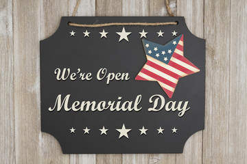 We are open Memorial Day message